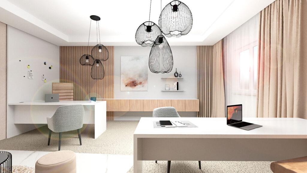 Návrh interiéru moderní útulné kanceláře